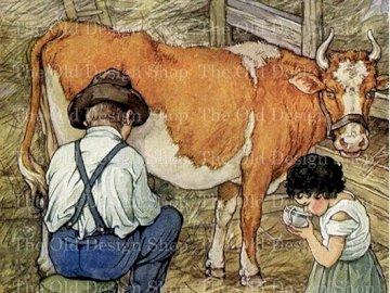 dívka pije čerstvé nadojené mléko