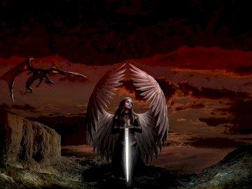 angelo in preghiera - angelo in preghiera nel deserto