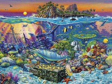 Underwater world. - Landscape puzzle.