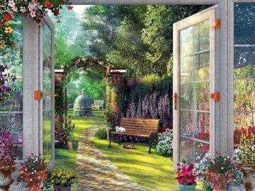 In a beautiful garden. - Puzzle: in a beautiful garden.
