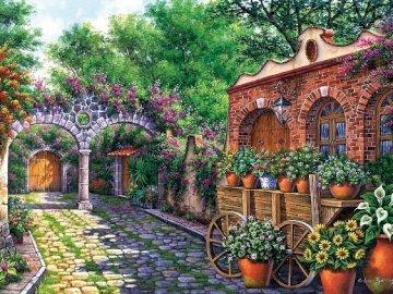 Patio espagnol. - Puzzle paysage.