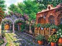 Hiszpańskie patio. - Układanka krajobrazowa.