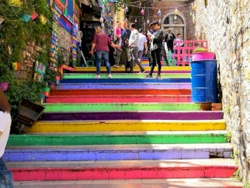 Colorful stairs. - Construction: colorful stairs.
