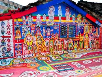 Tajwan, kolorowe domki - Rainbow Village w Tajwanie