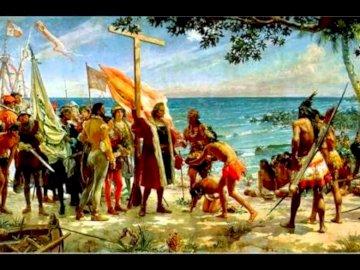 Primer homenaje a Colón - Llegada de Cristóbal Colón al Nuevo Mundo y encuentro con los indígenas