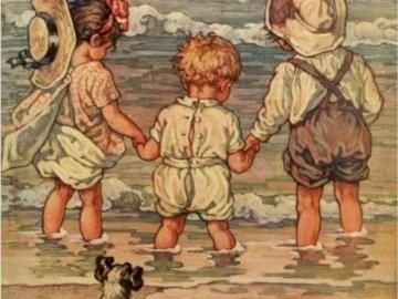 děti po kolena v mořské vodě - děti po kolena v mořské vodě