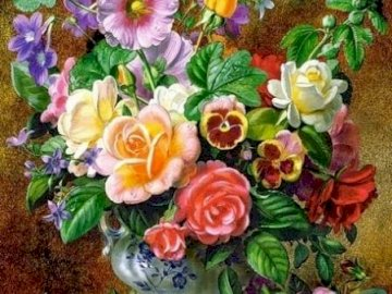 A bouquet of colorful flowers in a vase - A bouquet of colorful flowers in a vase