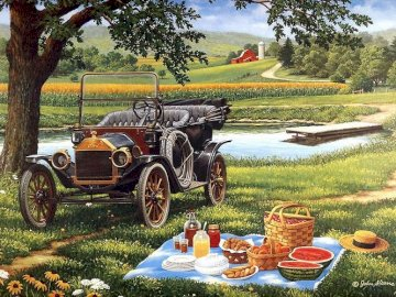 Picnic in the summer. - Landscape puzzle.