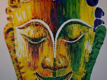 Peinture de Bouddha multicolore en Thaïlande - Peinture de Bouddha multicolore en Thaïlande