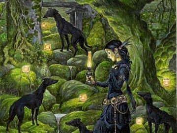 venčení psů v lese s petrolejkou - venčení psů v lese s petrolejkou