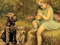 holčička, káčátko a psi - holčička, káčátko a psi