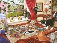 Kotki układające puzzle. - Układanka dla dzieci: kotki.