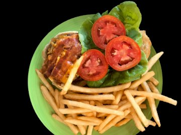 Burger i frytki ? wg - Smażone ziemniaki z pomidorem. Stany Zjednoczone