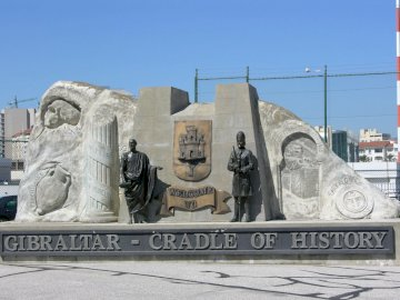 Gibraltar - the cradle of history - monument at the entrance to the territory of Gibraltar
