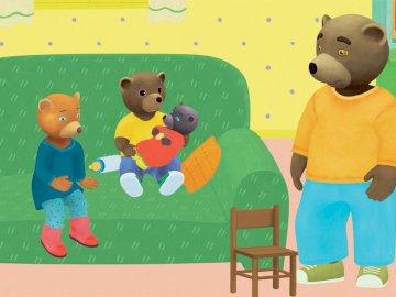 Mały niedźwiedź brunatny i jego przyjaciel na kana - Łatwa 6-częściowa układanka dla dzieci w wieku przedszkolnym lub szkolnym