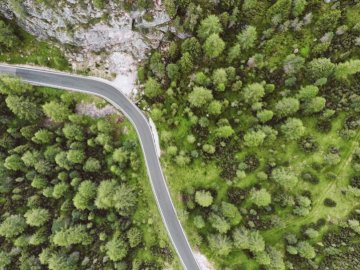 Dolomiti in Italy - Aerial photography of green trees beside road. Beijing
