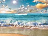 Summer by the sea. - Landscape puzzle.