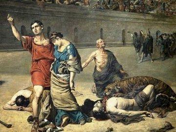 męczennicy w koloseum - pierwsi chrześcijanie ponoszący śmierć na arenie koloseum
