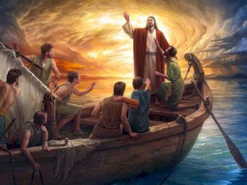 Jesus silences the elements - the picture shows a scene from the Gospel (Mt 8, 23-27) - Jesus calms the wind and the sea during a
