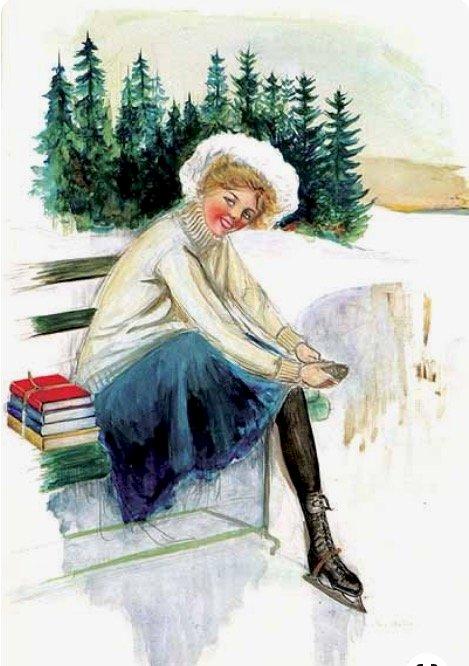 mladá bruslařka a knihy (15×15)