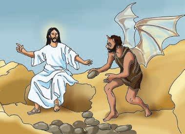 verzoeking van Jezus - Verleiding van Jezus in de woestijn (6×5)