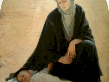 """Arab Madonna - Picture author: Albert Louis, two picture titles: """"Arab Madonna"""" or """"Baby Dream in th"""
