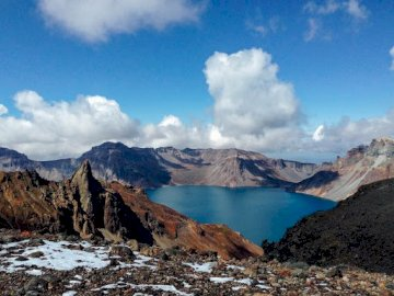 North Korea - Peact-san sacred mountain of koreans volcano crater filled with water