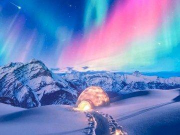Aurora borealis. - Landscape puzzle.