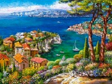 Côte d'Azur. - Peinture: Côte d'Azur.