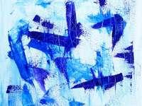 Arte astratta in pittura - Illustrazione astratta viola e blu. Alta Franconia, Baviera, Germania