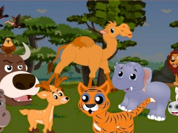 Puzzle Animals savanna and jungle - Puzzles for preschool children on the subject of savanna and jungle animals