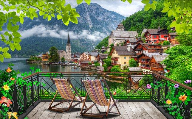 Kilátás a Hallstatt-ra - Kilátás a hegyekre. Táj puzzle. Hegyi táj a teraszról (11×9)