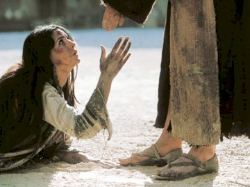 """Jesus forgives a woman's sins - scene from the film """"Passion"""" referring to the Gospel of St. John chapter 8, 1-11"""