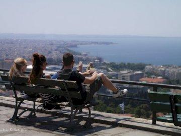 Vue de Thessalonique - Visite de la ville de Thessalonique depuis la région de Kastra à Ano Poli.