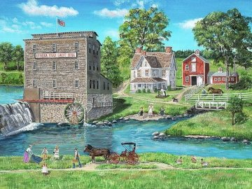 Picnic by the water - Picnic by the water, river, mill