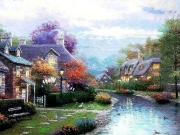 Miasteczko o zmierzchu - Miasteczko o zmierzchu , domy , woda , jesień