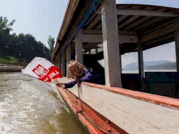 Asia Laos - cruise with a child on the Mekong River