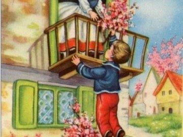 chlapec donesl dívce květiny - chlapec donesl dívce květiny