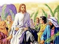 Palm Sunday - Jesus riding on a donkey to Jerusalem.