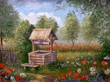 Wiejski ogród - Wiejski ogród , studnia , kwitnące kwiaty , drzewa
