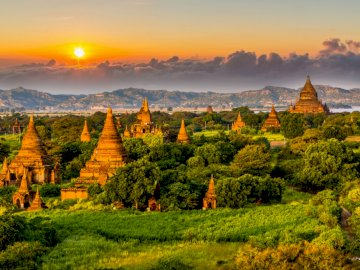 ASIA BURMA - the most interesting country in the world. Pagodas at sunset