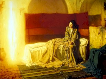 Angel Gabriel Announces Mary - the picture shows a passage from Gospel Lk 1, 26-38: Annunciation of the birth of the Son of God; im