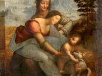 Saint Anna Samotrzecia - Pintura do pintor Leonardo da Vinci do período renascentista