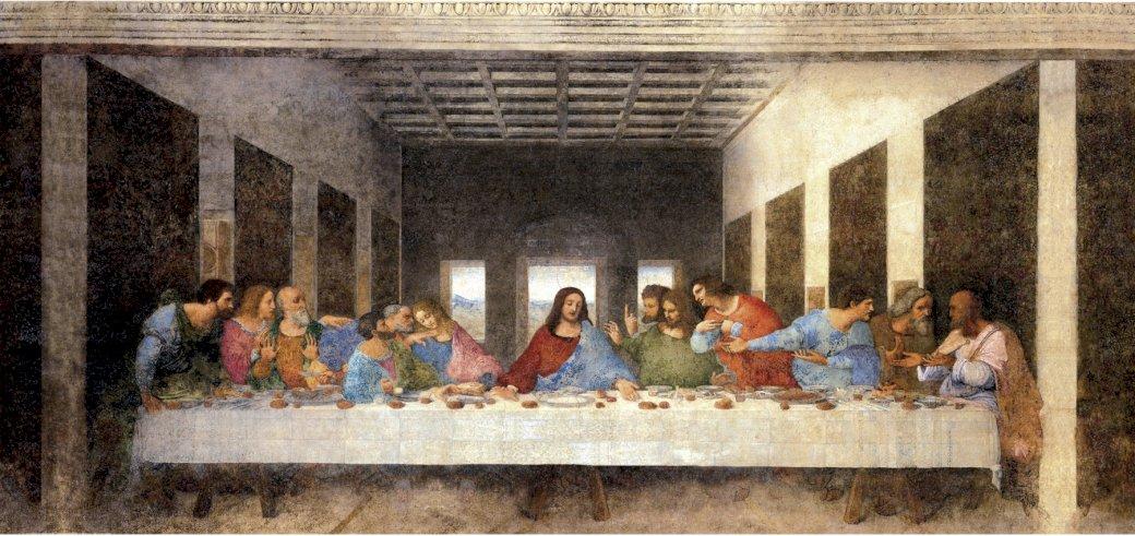 Last Supper - Painting by Leonardo da Vinci, painter of the Renaissance period (8×7)
