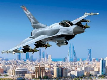 panorama - F-16 over the capital of Bahrain