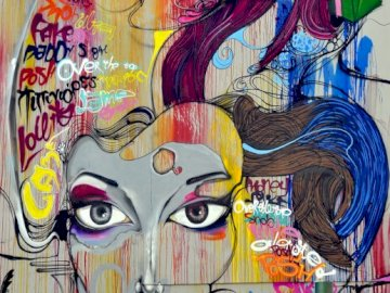 A woman with colorful hair - Contemporary art, puzzle art