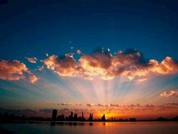 panorama - zachód słońca nad Zatoką perską