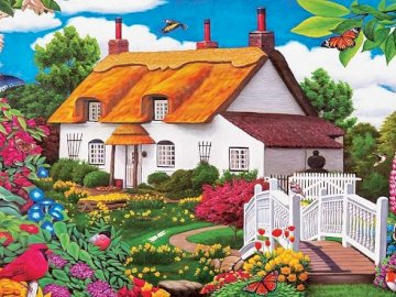 A painted house. - Painted cottage with a garden.