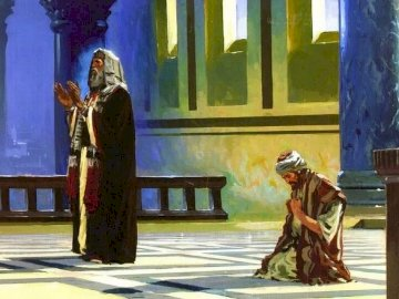 Pharisee and tax collector - the picture refers to the Gospel of Lk 18, 9-14, depicts the different attitudes of people praying t