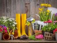 """Jardinagem de primavera - Quebra-cabeça relacionado ao tema semanal: """"Limpeza de primavera""""."""